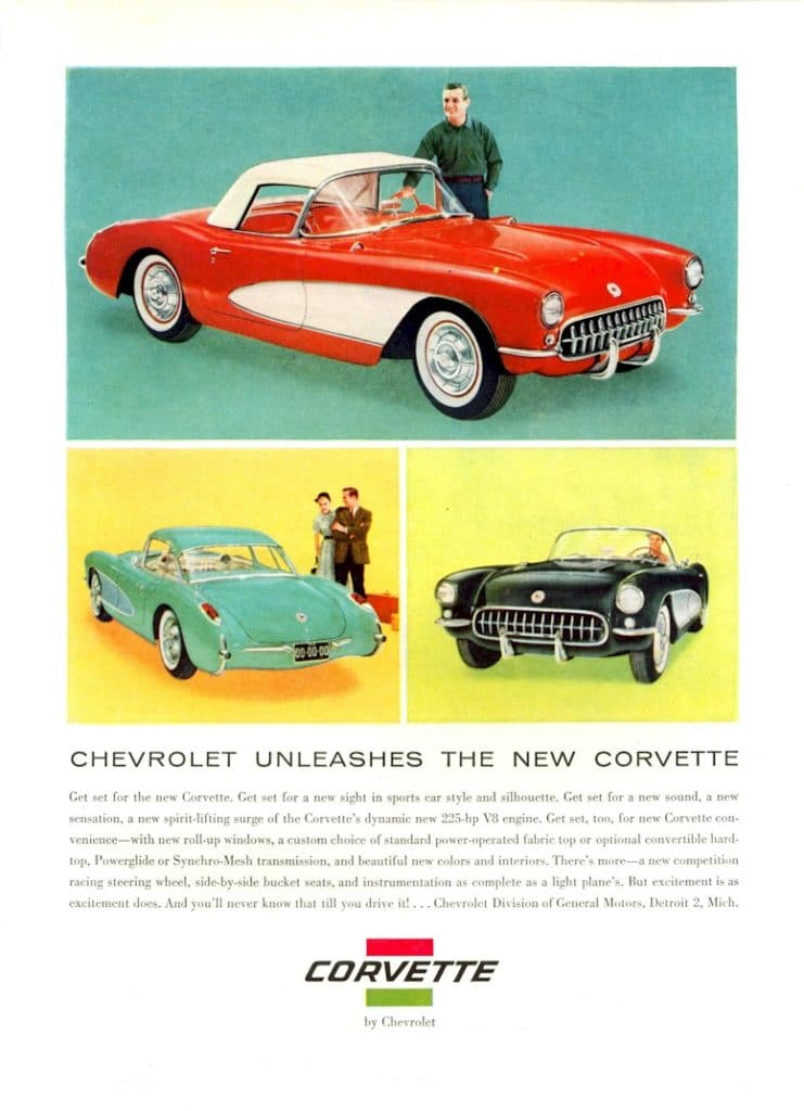This ad looks like the previous ad, but it is slightly different. Chevrolet Unleashes The New Corvette - 1956 Vintage Corvette Magazine Ad