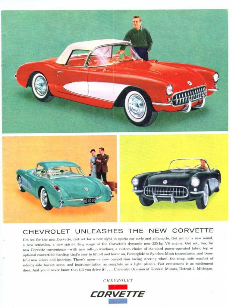 Chevrolet Unleashes The New Corvette - 1956 Vintage Corvette Magazine Ad