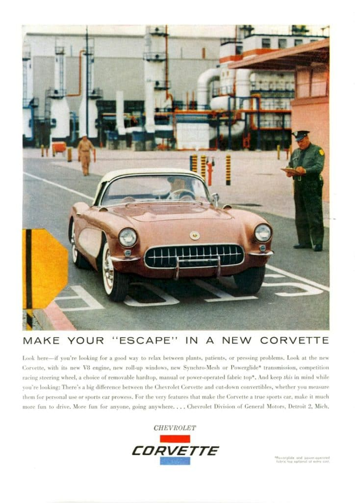 Another 1956 Chevrolet Corvette advertisement titled Make Your Escape in a New Corvette.