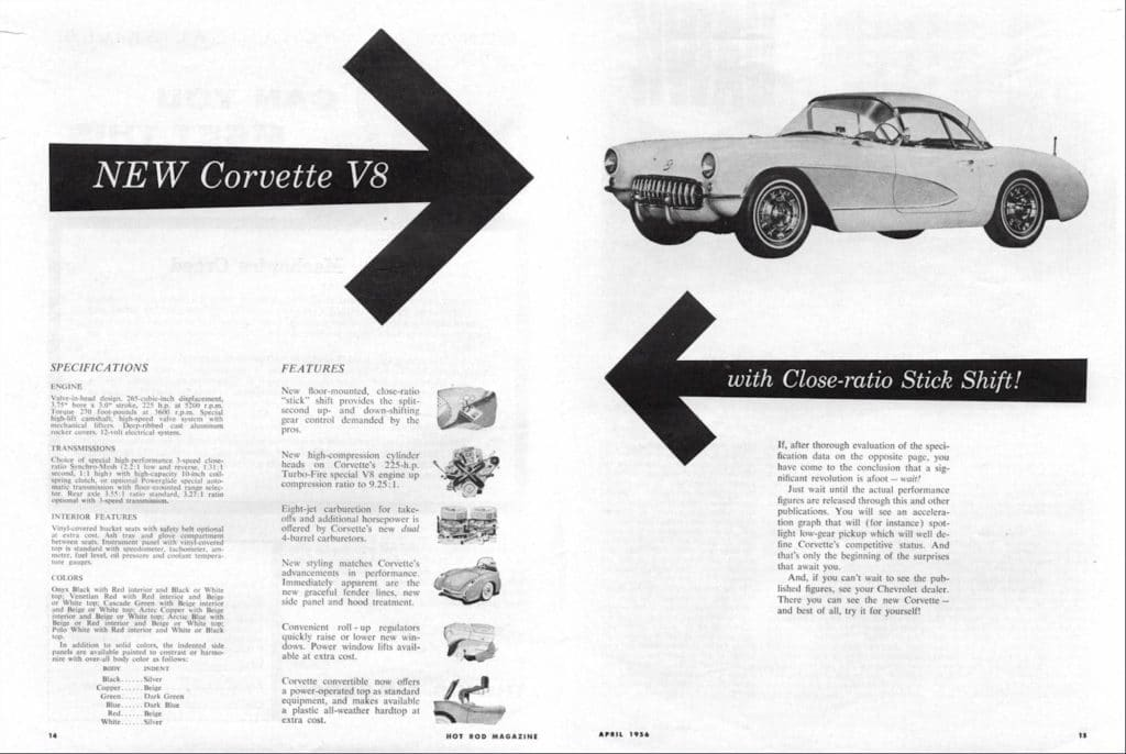New Corvette V8 with Close-ration Stick Shift!  This is an advertisement by Chevrolet introducing the 1956 V8 engine.  It has the Specifications and features in this advertisement.