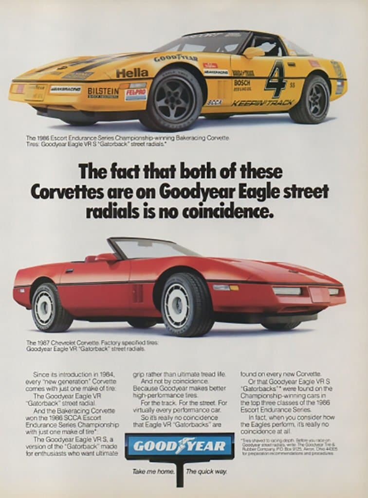 Magazine ad featuring the Bakeracing #4 Corvette