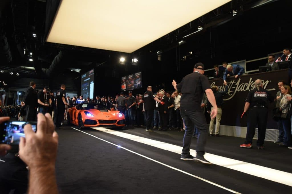 The 2019 Corvette ZR1 was bought by Rick Hendrick, chairman of Hendrick Automotive Group and owner of 12-time NASCAR Cup Series champions Hendrick Motorsports, for $925,000. The auction proceeds will benefit the Stephen Siller Tunnel to Towers Foundation and the work it does to support wounded veterans through the Building for America's Bravest program.