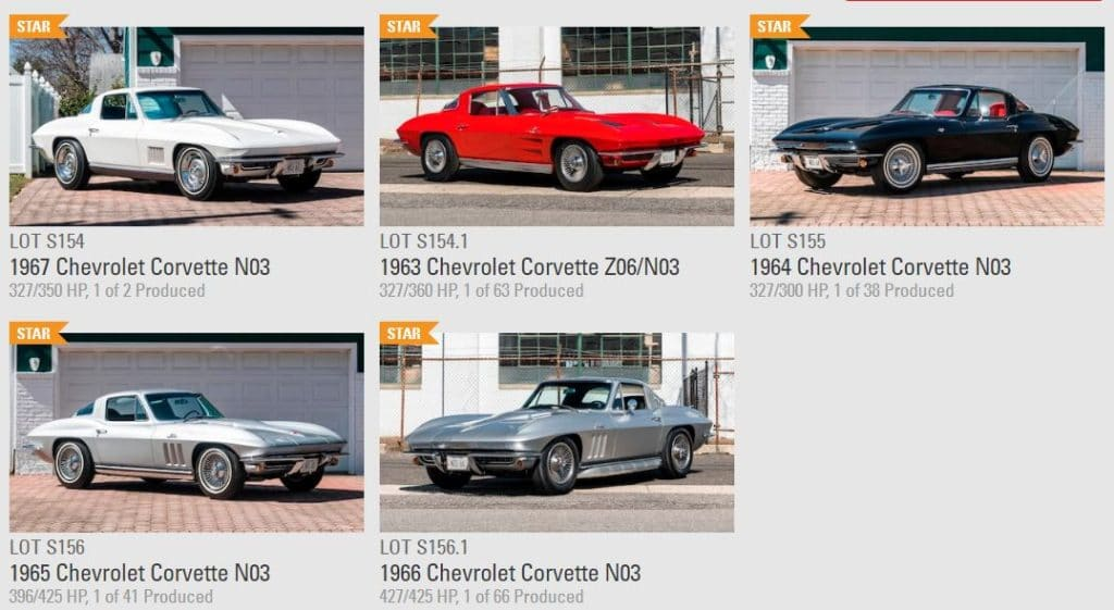 Five N03 Big Tank Corvettes from The Richard Cohen Collection Goes to Mecum Auction
