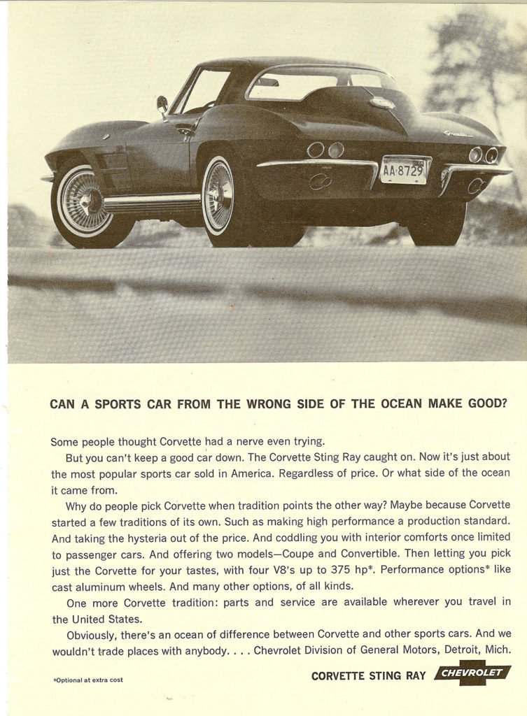 Can a sports car from the wrong side of the ocean make good? - 1964 Corvette Advertisement
