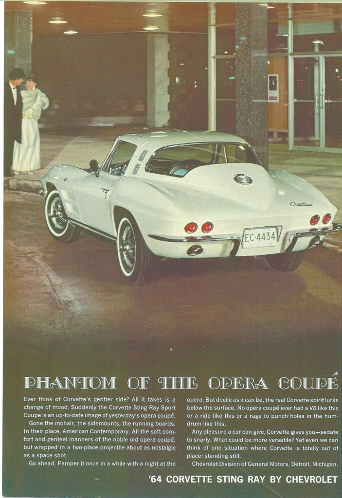 Phantom of the opera coupe - 1964 Corvette Advertisement