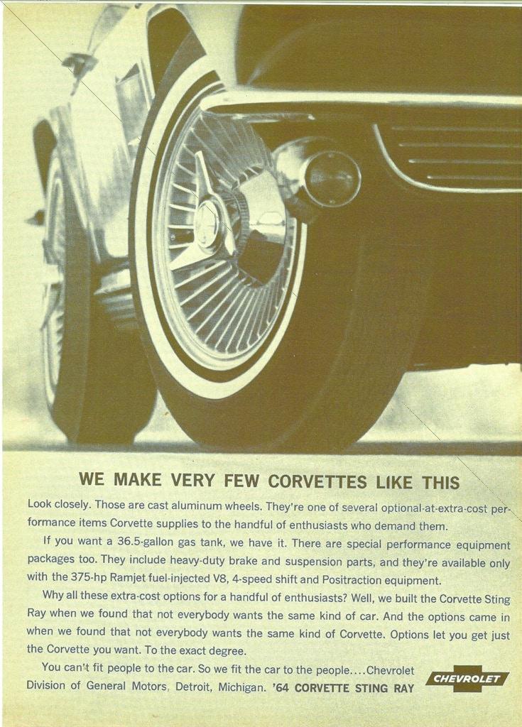 We make very few Corvettes like this - 1964 Corvette Advertisment