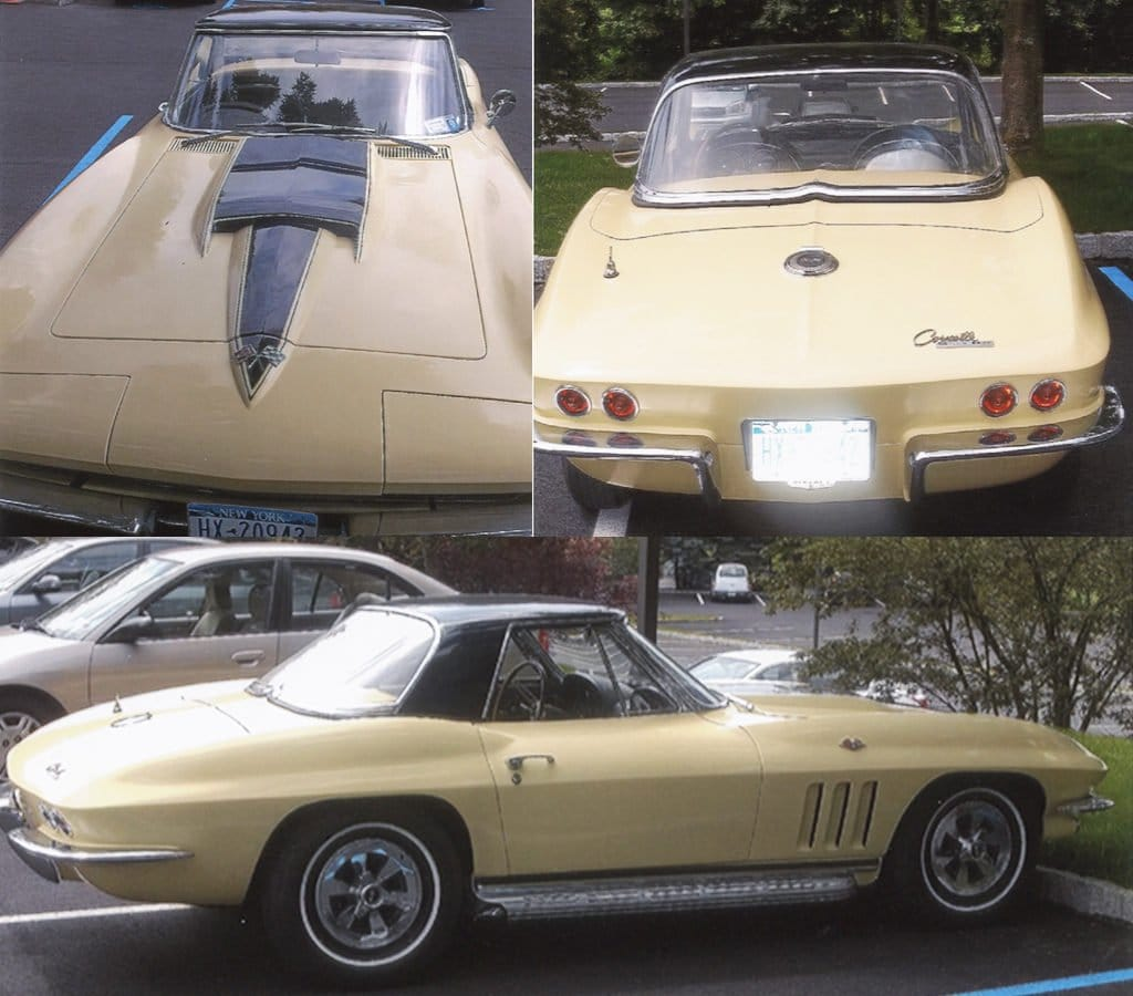 1965 Corvette Convertible For Sale. Goldwood w/black hardtop, 67-427 hood; 327/365hp, Side exhaust, teak wheel, Matching numbers; 1000 mi. Asking $125,000 Tel: (914)652-7386 NY