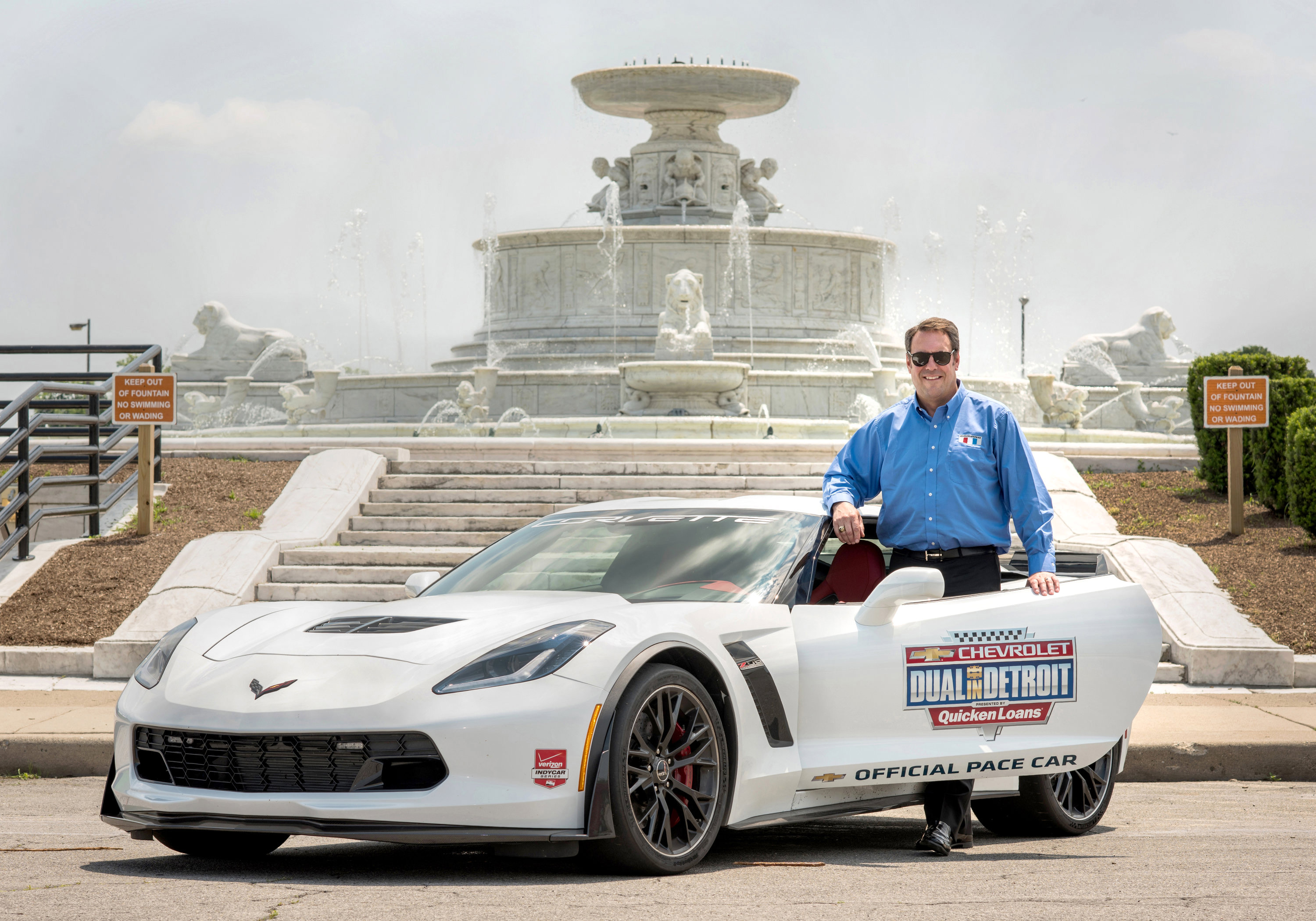 Chevrolet announces Friday, May 29, 2015 that General Motors Executive Vice President Product Development Mark Reuss will drive the Corvette Z06 pace car this weekend for the Chevrolet Dual in Detroit on Belle Isle in Detroit, Michigan. The Corvette Z06 features 650 supercharged horsepower, a seven-speed manual transmission and a track-capable chassis system. (Photo by Steve Fecht for Chevrolet)