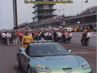 Cover of the 2008 August issue of Vette Vues Magazine. The car is the 2008 Corvette Z06 E85 Indy 500 Pace Car driven during the race's pace lap by two-time Indianapolis 500 champion Emerson Fittipaldi at the 92nd Indianapolis 500 takes place on Sunday, May 25, 2008.