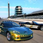 History will be made at the 2008 Indianapolis 500 when a pair of distinctive yet highly differentiated Corvette models will serve as the official pace cars Ð one highlighting ChevroletÕs commitment to fuel solutions and the other marking 30 years of CorvetteÕs pace car heritage. The Corvette Z06 E85 concept (left) runs on E85 ethanol fuel and will be driven during the raceÕs pace lap by two-time Indianapolis 500 champion Emerson Fittipaldi. The Corvette 30th Anniversary Pace Car honors the 1978 model - the first Corvette to pace the field at the Indy 500. (Photo by Ron McQueeney for General Motors)