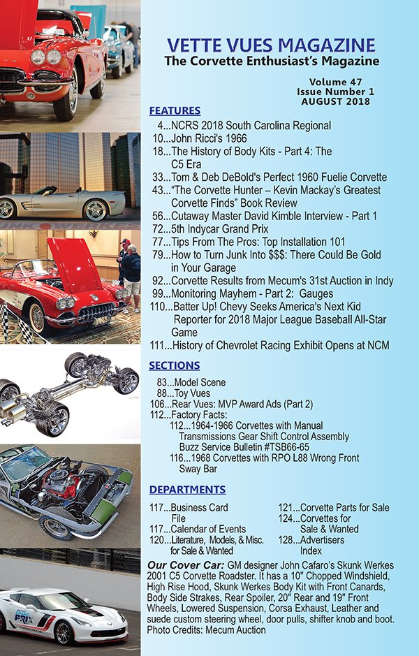 August 2018 Vette Vues Magazine Articles