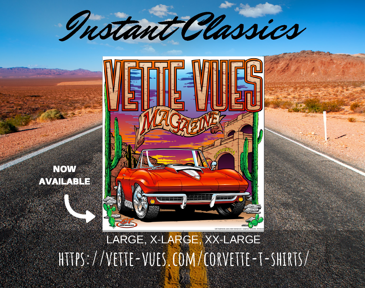 Vette Vues Magazine's Corvette T-shirt features a Red Mid-Year C2 Corvette on a 100% pre-shrunk cotton, highly detailed silk screen artwork on the tee.