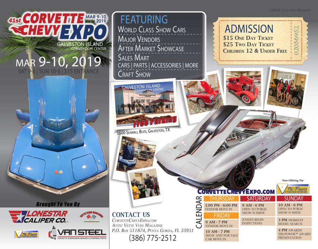 41st Corvette Chevy Expo held at the Galveston Island Convention Center at the San Luis Resort, 5600 Seawall Blvd, Galveston, TX March 9 and 10, 2019.