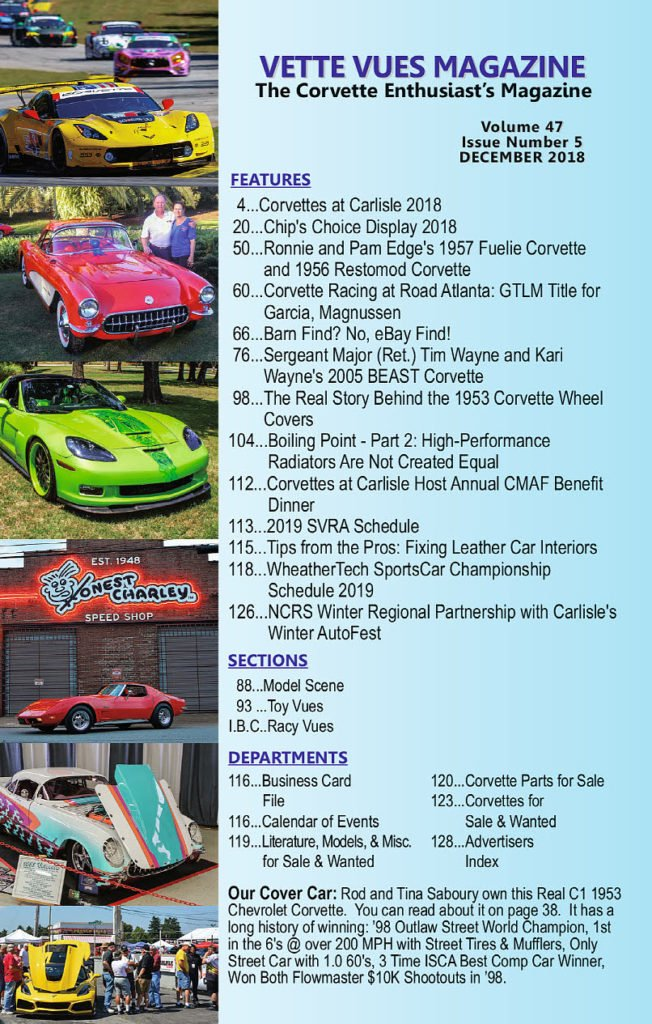 Articles in the December 2018 Issue Vette Vues Magazine