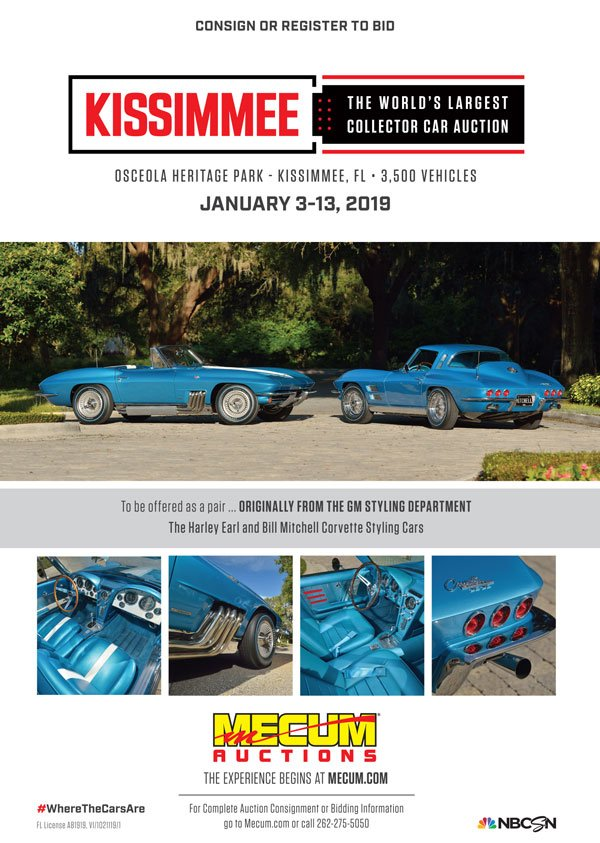 FL, Kissimmee January 4-13, 2019: Mecum Auction held at the Osceola Heritage Park, 1875 Silver Spur Lane. Stop by and see Vette Vues Magazine in the vendor tent. For more information visit www.mecum.com