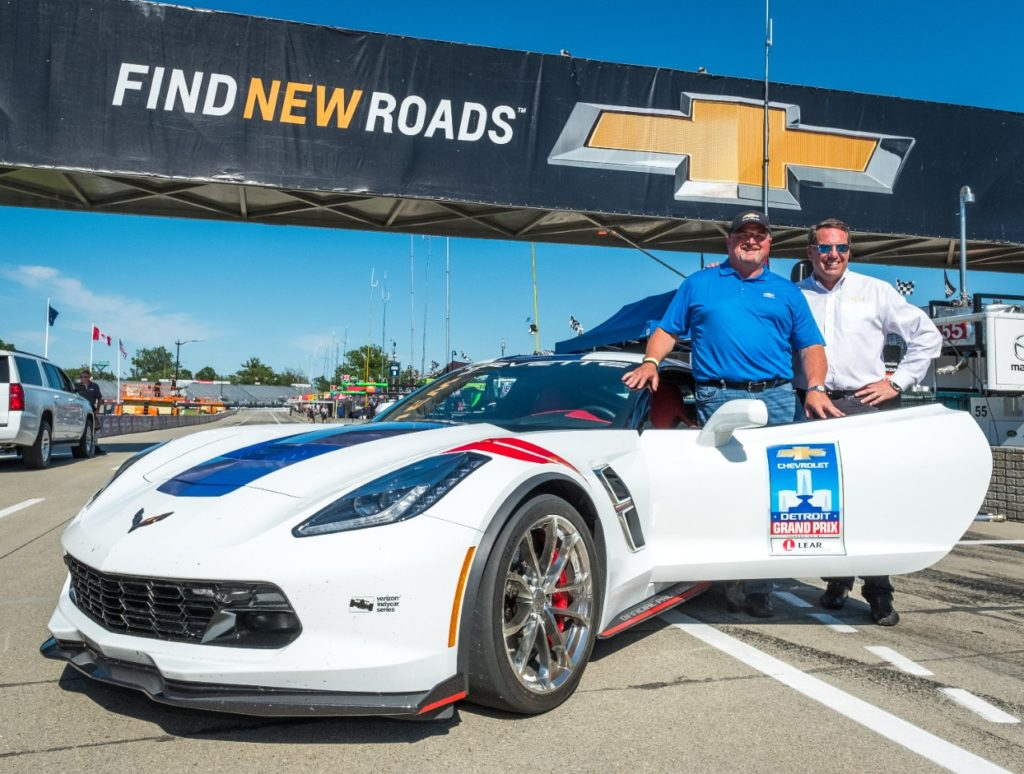 General Motors Vice President Global Product Integrity Ken Morris and GM Executive Vice President Global Product Development Mark Reuss will drive the Chevrolet Corvette Grand Sport Pace Car June 3-4, 2017 at the Detroit Grand Prix IndyCar Chevrolet Dual in Detroit, Michigan. Morris will pace Saturday's race. Reuss will drive the pace car on Sunday. (Photo by Steve Fecht for Chevy Racing)