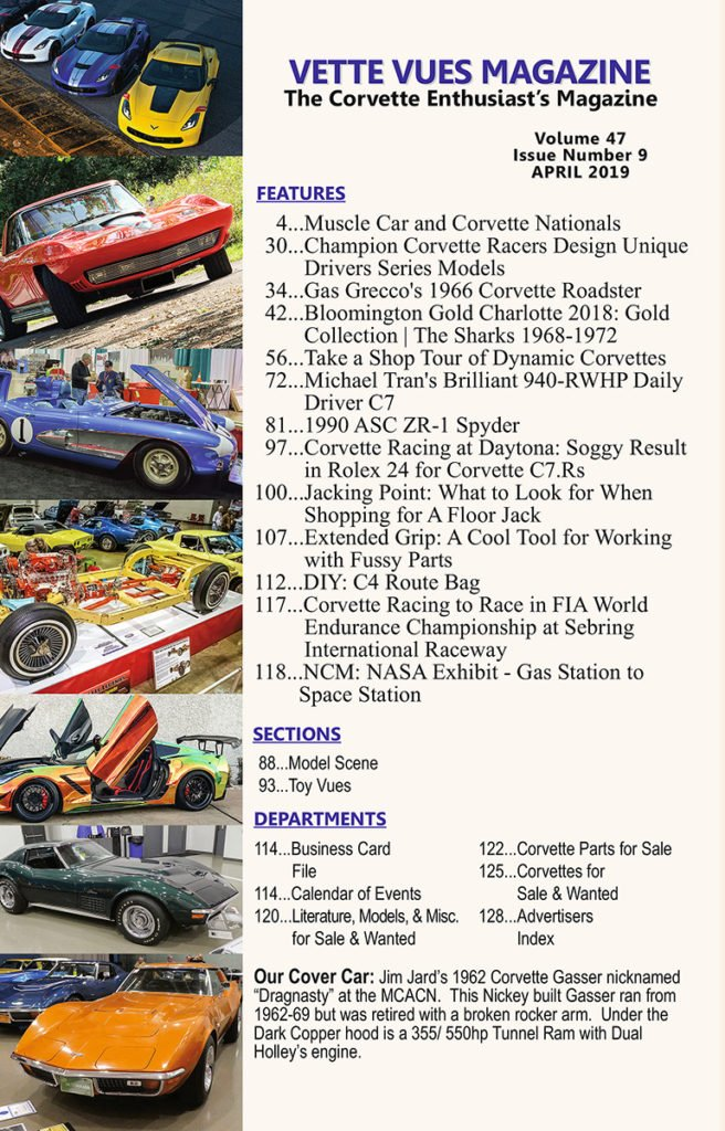 ARTICLES IN THE APRIL 2019 ISSUE VETTE VUES MAGAZINE