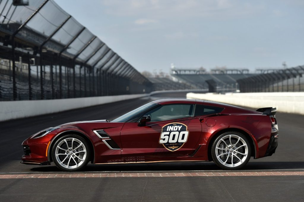 Notice the Grand Sport aluminum wheels: 19-inch front and 20-inch rear and the Carbon Flash painted Carbon Fiber Ground Effects Package.  The 2019 Corvette Grand Sport will serve as the Official Pace Car for the 2019 Indianapolis 500 presented by Gainbridge, leading 33 drivers to the green flag on May 26 for the 103rd running of the legendary race.