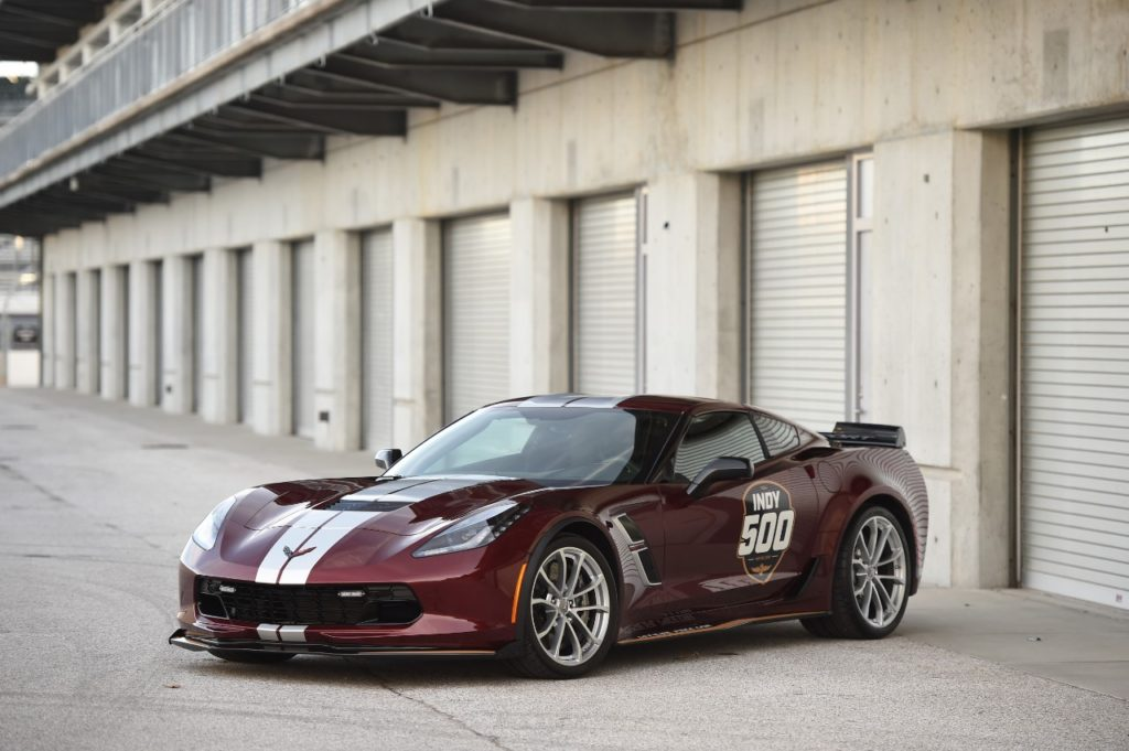 The 2019 Corvette Grand Sport Pace Car features Long Beach Red Metallic Tintcoat with unique GM Design Indy 500 decal package with Full Length Racing Blade Silver Dual Stripes.