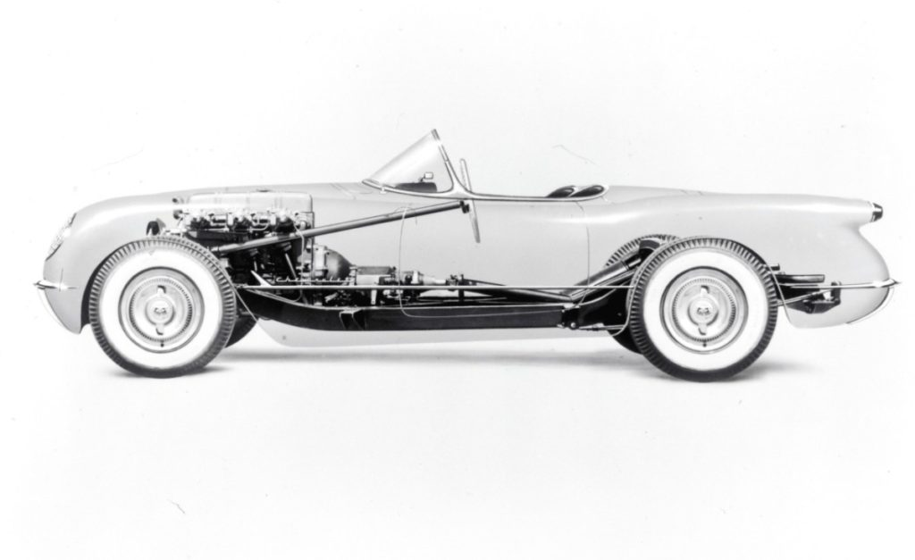 First-generation (C1) Corvettes used a modified chassis from Chevrolet's passenger car lineup, which featured a central X-brace and accommodated the car's 102-inch wheelbase, which was 13 inches shorter than a Bel Air sedan.