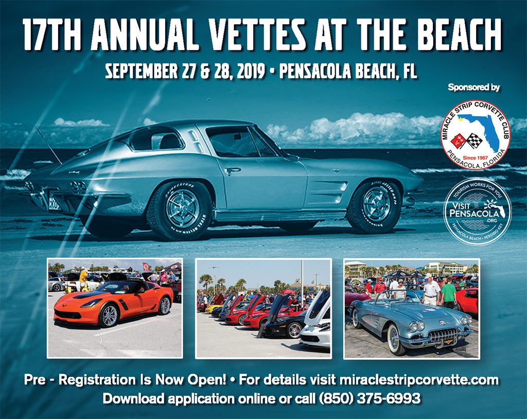 FL, Pensacola Beach, Sept. 27-28: 17th Ann. Vettes at the Beach.  Sponsored by Miracle Strip Corvette Club.  For details visit http://miraclestripcorvette.com/ or call 850-375-6993.