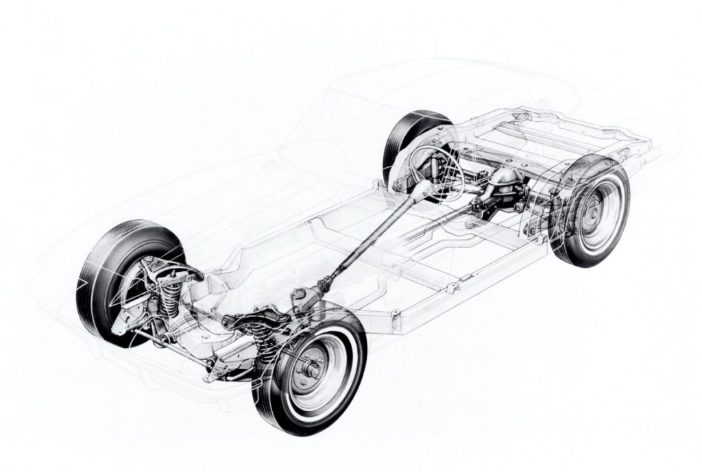 The introduction of the second-generation (C2) Corvette brought an all-new, dedicated chassis that featured a stronger ladder-type design and incorporated provisions for the new car's independent rear suspension.