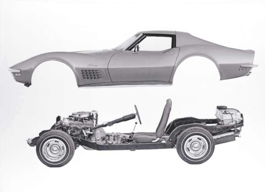 Third-generation (C3) Corvettes employed the same basic ladder-frame design as C2 models, while advances in suspension design contributed to greater handling capability.