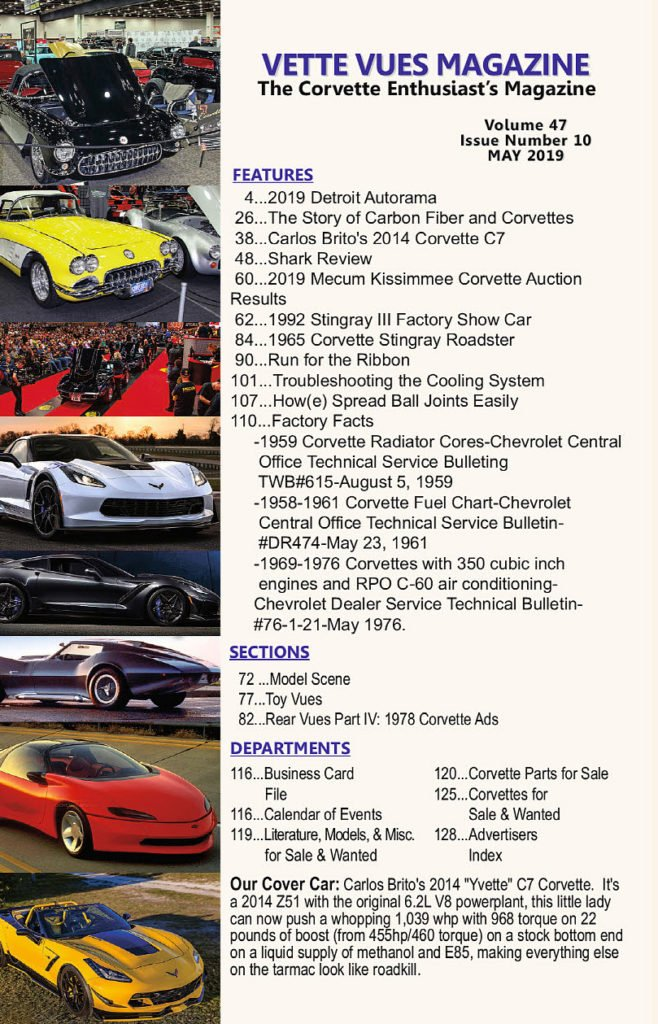 May 2019 Issue Vette Vues Magazine Table of Contents