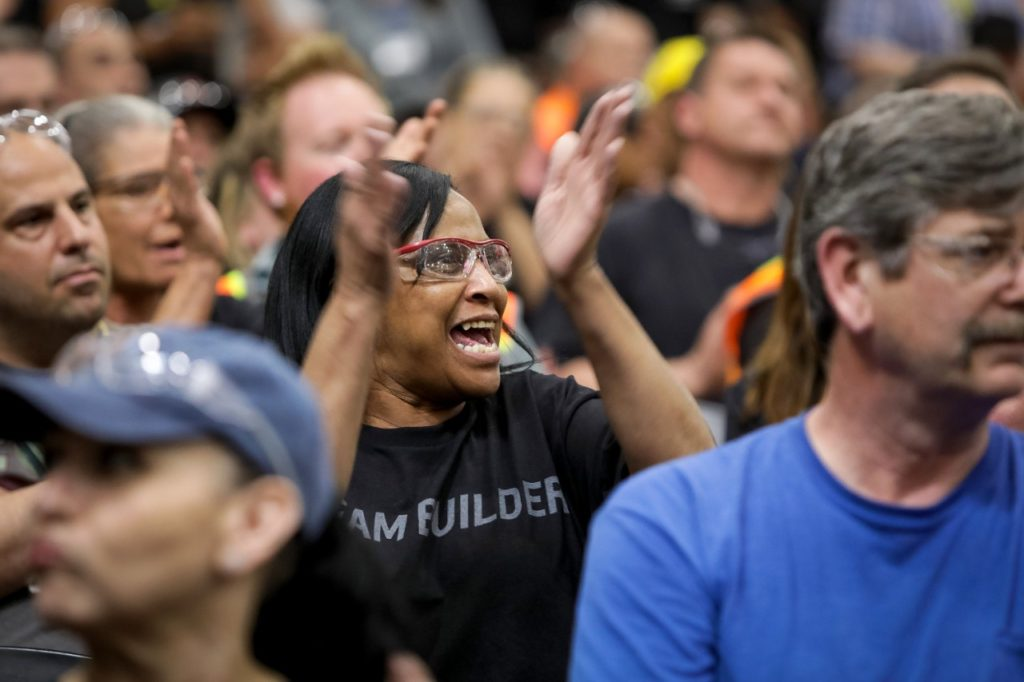 General Motors employees react as GM Chairman and CEO Mary Barra announces the company is adding a second shift and more than 400 hourly jobs at its Bowling Green Assembly plant Thursday, April 25, 2019 in Bowling Green, Kentucky. The second shift and additional jobs will support production of the Next Generation Corvette, which will be revealed on July 18. (Photo by Miranda Pederson for General Motors)