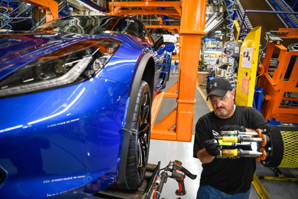 A General Motors employee works on the Corvette assembly line Thursday, April 25, 2019 in Bowling Green, Kentucky. GM announced today, the company is adding a second shift and more than 400 hourly jobs at the Bowling Green plant  The second shift and additional jobs will support production of the Next Generation Corvette, which will be revealed on July 18. (Photo by Miranda Pederson for General Motors)