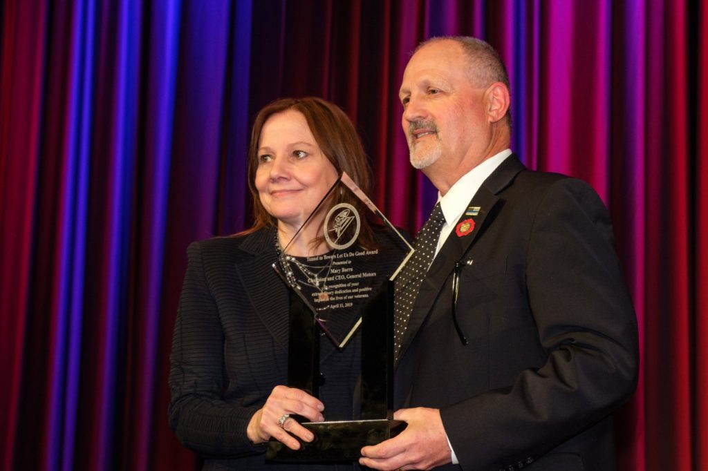 General Motors Chairman and CEO Mary Barra receives an award from Frank Stiller at the Stephen Siller Tunnel to Towers Foundation's annual Footsteps to the Future Gala Thursday, April 11, 2019 in New York, New York. Barra announced the final production seventh gen Corvette will be auctioned with all proceeds being donated to the foundation to help veterans and first responders. Barra also announced the next generation Corvette will be unveiled on July 18. (Photo by Steve Fecht for General Motors)
