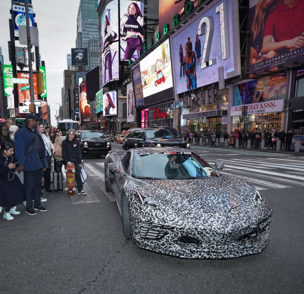 Chevrolet announces the next generation Corvette will debut 07.18.19. A camouflaged next generation Corvette travels down 7th Avenue near Times Square Thursday, April 11, 2019 in New York, New York. (Photo by Todd Plitt for Chevrolet)