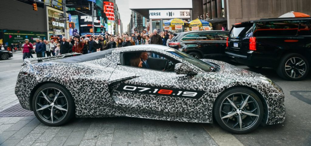 Chevrolet Corvette Chief Engineer Tadge Juechter and General Motors Chairman and CEO Mary Barra drive in a camouflaged next generation Corvette down 7th Avenue near Times Square Thursday, April 11, 2019 in New York, New York. The next generation Corvette will be unveiled on July 18. (Photo by Jennifer Altman for Chevrolet)