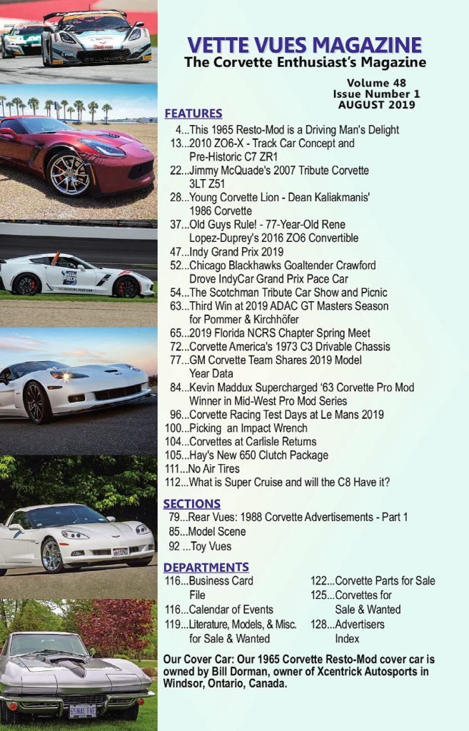 Articles in the August 2019 Issue Vette Vues Magazine