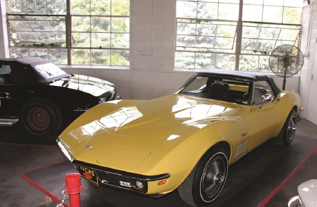 1969 Daytona Yellow C3 Corvette on display in the NCRS Gallery at Corvettes at Carlisle 2011.