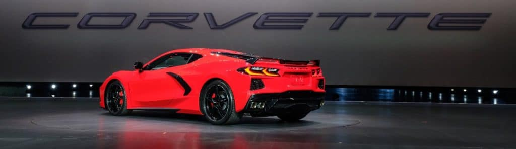 General Motors President Mark Reuss drives the 2020 Chevrolet Corvette Stingray onto the stage during its unveiling Thursday, July 18, 2019 in Tustin, California. The 2020 Stingray, the brand's first-ever production mid-engine Corvette, features a new 6.2L Small Block V-8 LT2 engine producing 495 horsepower and 470 lb-ft of torque when equipped with performance exhaust. The 2020 Chevrolet Corvette Stingray goes into production in late 2019 and will start under $60,000. (Photo by Steve Fecht for Chevrolet)