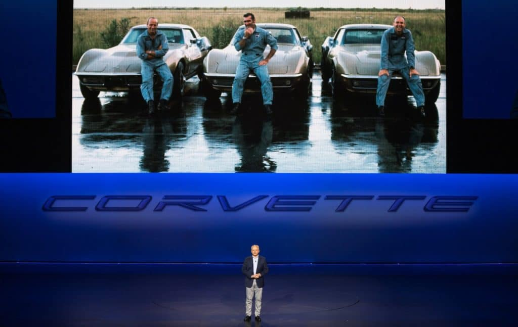 General Motors Executive Vice President and President of the Americas Barry Engle introduces the 2020 Corvette Stingray, the brand's first-ever production mid-engine Corvette, Thursday, July 18, 2019 in Tustin, California. The 2020 Stingray features a new 6.2L Small Block V-8 LT2 engine producing 495 horsepower and 470 lb-ft of torque when equipped with performance exhaust. The 2020 Chevrolet Corvette Stingray goes into production in late 2019 and will start under $60,000. (Photo by J. Emilio Flores for Chevrolet)