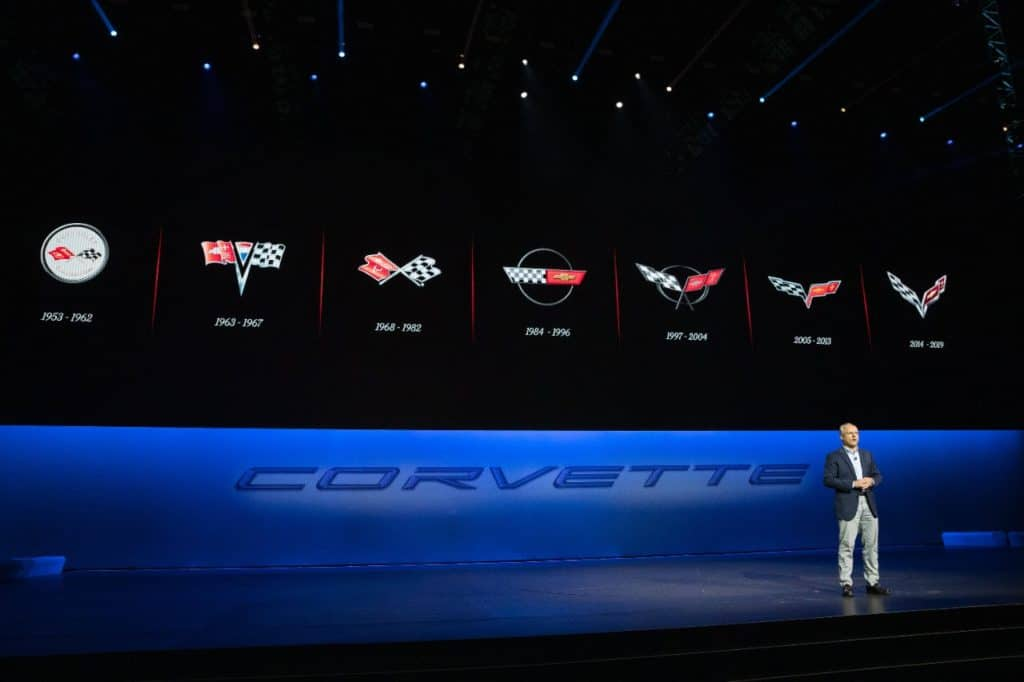 General Motors Executive Vice President and President of the Americas Barry Engle introduces the 2020 Corvette Stingray, the brand's first-ever production mid-engine Corvette, Thursday, July 18, 2019 in Tustin, California. The 2020 Stingray features a new 6.2L Small Block V-8 LT2 engine producing 495 horsepower and 470 lb-ft of torque when equipped with performance exhaust. The 2020 Chevrolet Corvette Stingray goes into production in late 2019 and will start under $60,000. (Photo by Dan MacMedan for Chevrolet)