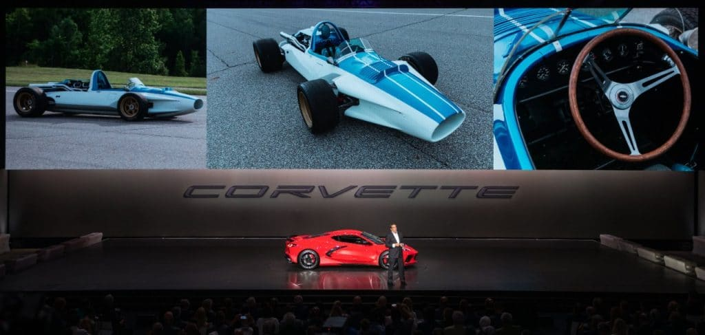 General Motors President Mark Reuss drives the 2020 Chevrolet Corvette Stingray onto the stage during its unveiling Thursday, July 18, 2019 in Tustin, California. The 2020 Stingray, the brand's first-ever production mid-engine Corvette, features a new 6.2L Small Block V-8 LT2 engine producing 495 horsepower and 470 lb-ft of torque when equipped with performance exhaust. The 2020 Chevrolet Corvette Stingray goes into production in late 2019 and will start under $60,000. (Photo by J. Emilio Flores for Chevrolet)