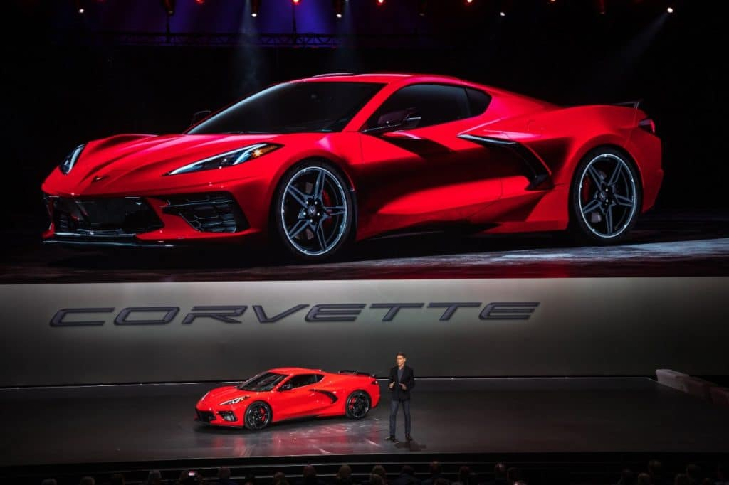 Corvette Executive Chief Engineer Tadge Juechter introduces the 2020 Chevrolet Corvette Stingray Thursday, July 18, 2019 in Tustin, California. The 2020 Stingray, the brand's first-ever production mid-engine Corvette, features a new 6.2L Small Block V-8 LT2 engine producing 495 horsepower and 470 lb-ft of torque when equipped with performance exhaust. The 2020 Chevrolet Corvette Stingray goes into production in late 2019 and will start under $60,000. (Photo by Dan MacMedan for Chevrolet)Corvette Executive Chief Engineer Tadge Juechter introduces the 2020 Chevrolet Corvette Stingray Thursday, July 18, 2019 in Tustin, California. The 2020 Stingray, the brand's first-ever production mid-engine Corvette, features a new 6.2L Small Block V-8 LT2 engine producing 495 horsepower and 470 lb-ft of torque when equipped with performance exhaust. The 2020 Chevrolet Corvette Stingray goes into production in late 2019 and will start under $60,000. (Photo by Dan MacMedan for Chevrolet)