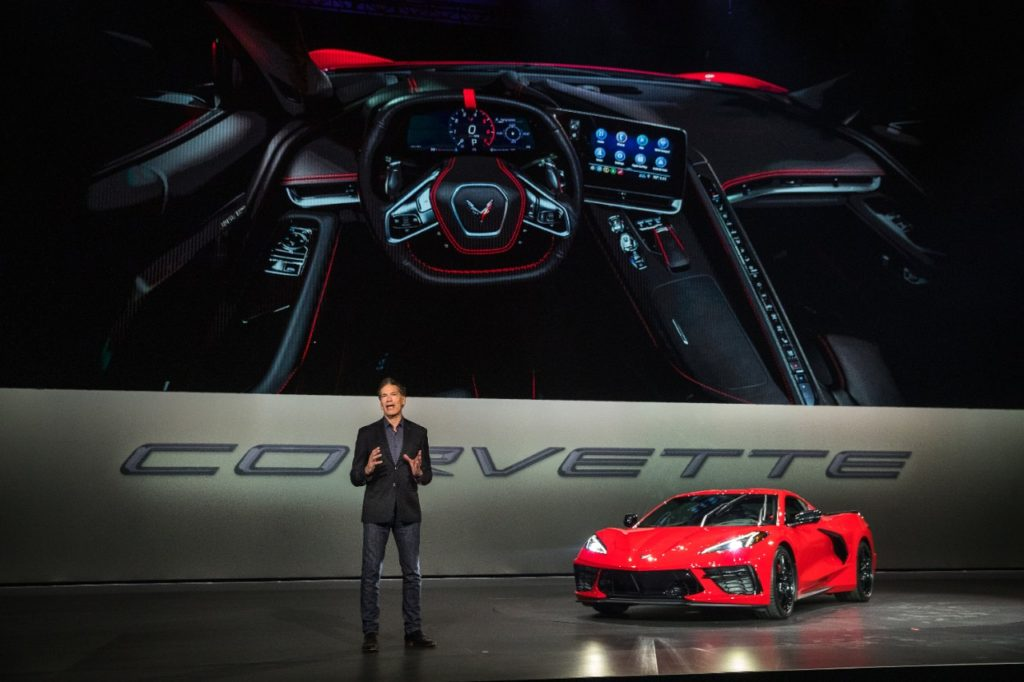 Executive Design Director Global Chevrolet Phil Zak introduces the 2020 Chevrolet Corvette Stingray Thursday, July 18, 2019 in Tustin, California. The 2020 Stingray, the brand's first-ever production mid-engine Corvette, features a new 6.2L Small Block V-8 LT2 engine producing 495 horsepower and 470 lb-ft of torque when equipped with performance exhaust. The 2020 Chevrolet Corvette Stingray goes into production in late 2019 and will start under $60,000. (Photo by Dan MacMedan for Chevrolet)