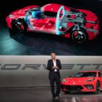 Corvette Executive Chief Engineer Tadge Juechter introduces the 2020 Chevrolet Corvette Stingray Thursday, July 18, 2019 in Tustin, California. The 2020 Stingray, the brand's first-ever production mid-engine Corvette, features a new 6.2L Small Block V-8 LT2 engine producing 495 horsepower and 470 lb-ft of torque when equipped with performance exhaust. The 2020 Chevrolet Corvette Stingray goes into production in late 2019 and will start under $60,000. (Photo by Dan MacMedan for Chevrolet)