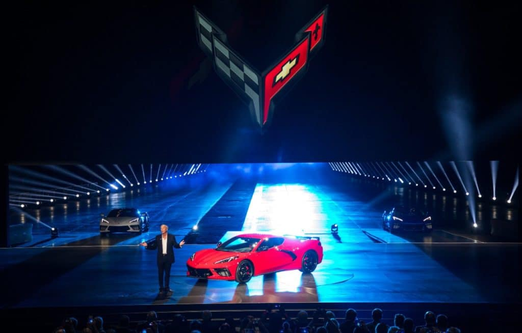 Corvette Executive Chief Engineer Tadge Juechter introduces the 2020 Chevrolet Corvette Stingray Thursday, July 18, 2019 in Tustin, California. The 2020 Stingray, the brand's first-ever production mid-engine Corvette, features a new 6.2L Small Block V-8 LT2 engine producing 495 horsepower and 470 lb-ft of torque when equipped with performance exhaust. The 2020 Chevrolet Corvette Stingray goes into production in late 2019 and will start under $60,000. (Photo by J. Emilio Flores for Chevrolet)