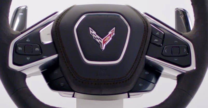 Mid-Engined Corvette C8's Steering Wheel Close-up