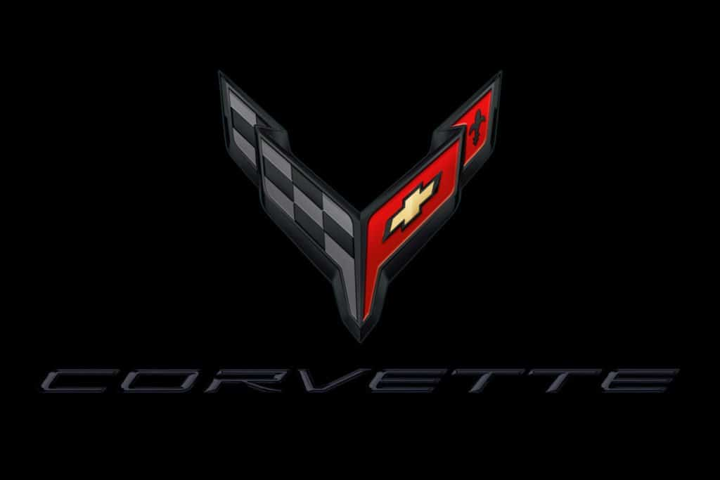 2020 Corvette Crossflags Symbol and Script in Carbon on Black