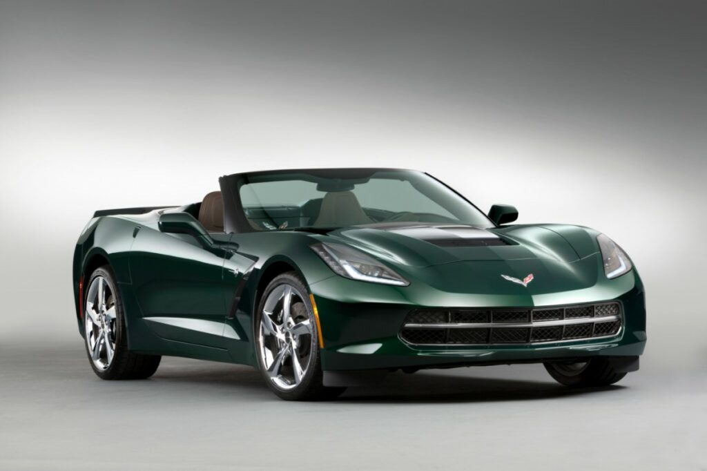 Chevrolet announces the 2014 Corvette Stingray Premiere Edition Convertible –a limited production model featuring a Lime Rock Green exterior and Brownstone suede interior, suede-wrapped interior trim, carbon-fiber accents, Stingray-logo, interior sill plates and wheel caps and custom Corvette branded luggage from Thule.
