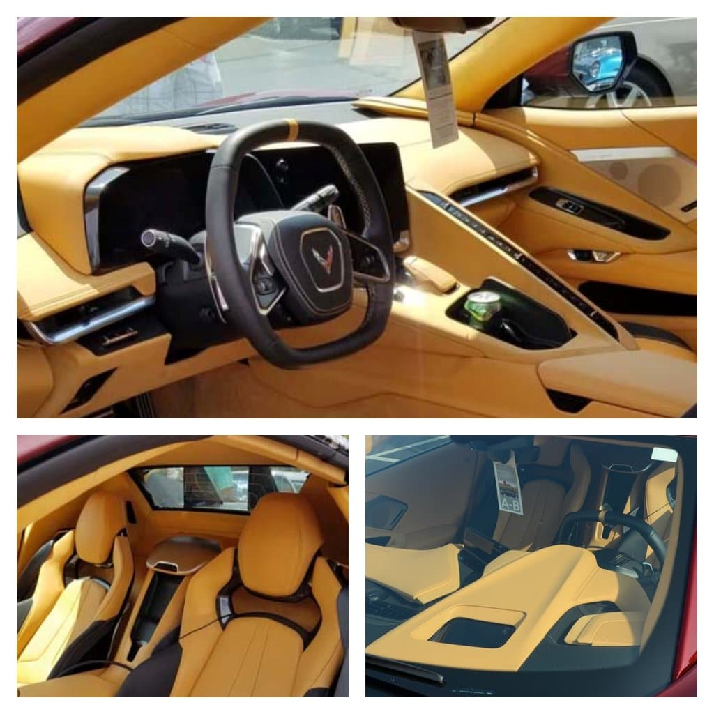 The interior in the Long Beach Red Camouflaged 2020 Mid-Engine C8 Corvette Convertible is natural colored with the competition seats, black seat belts, black wheels, and yellow calipers.