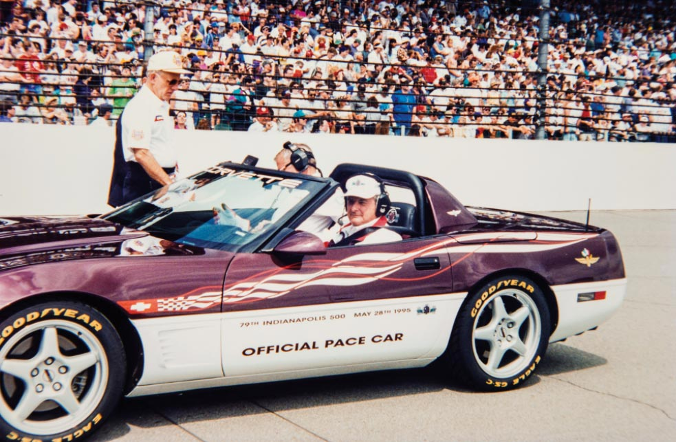 Jim Perkins in the 1995 Corvette Pace Car
