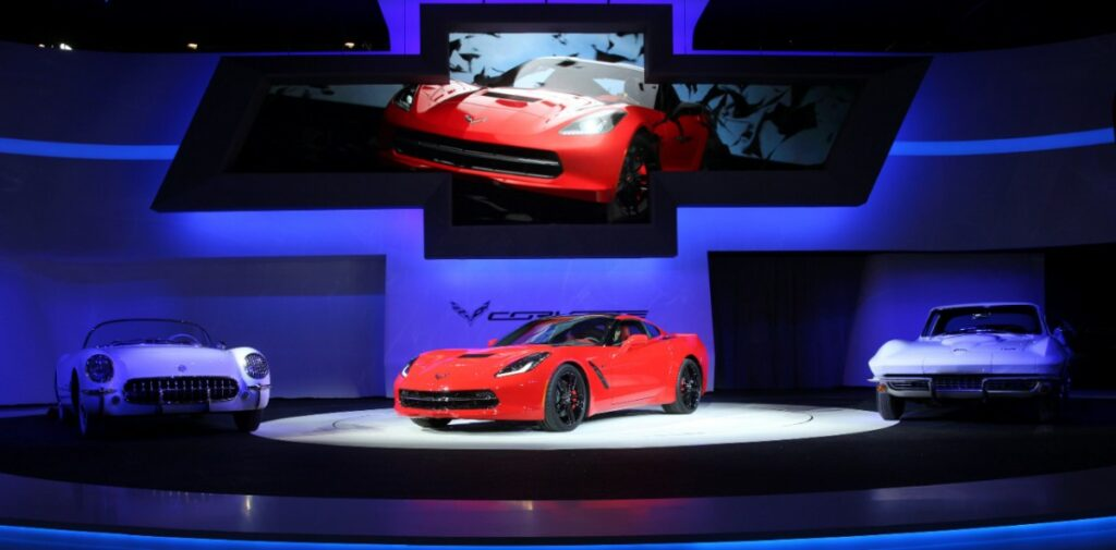 The 2014 Corvette Stingray debuts Monday, January 14, 2013 at the North American International Auto Show in Detroit, Michigan. The new Corvette is the most powerful standard model ever, with an estimated 450 horsepower (335 kW) and 450 lb.-ft. of torque (610 Nm). It will accelerate from 0-60 in less than four seconds. (Photo by John F. Martin for Chevrolet)