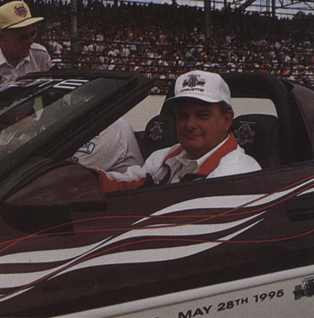 Jim Perkins, then Chevrolet General Manager, was designated as the official driver of the pace car. He opted to drive the pace car equipped with the manual transmission. This was the third time Corvette was chosen to be the Indy 500 Pace Car and his third time to drive the Pace Car at Indy. There were 527 Indy Pace Car replicas produced with the exact same options. This photo appeared in the August 1995 issue of Vette Vues.